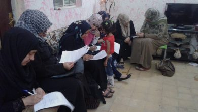 Photo of Al-Karrada LC staff distributes questionnaires on beneficiaries of BEWIYC